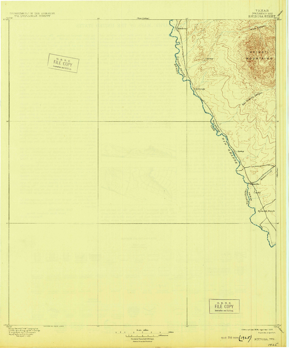 USGS 1:125000-SCALE QUADRANGLE FOR RUIDOSA, TX 1896