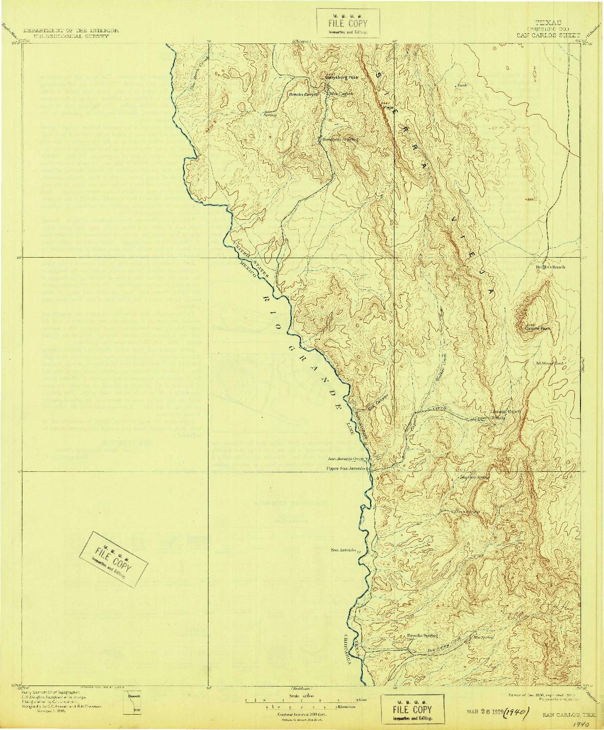 USGS 1:125000-SCALE QUADRANGLE FOR SAN CARLOS, TX 1896
