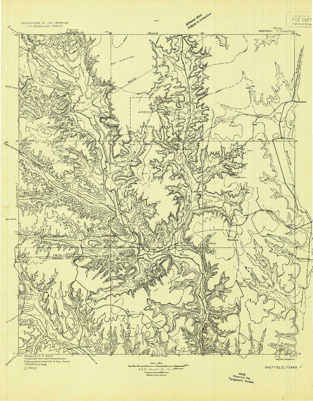 USGS 1:125000-SCALE QUADRANGLE FOR SHEFFIELD, TX 1929