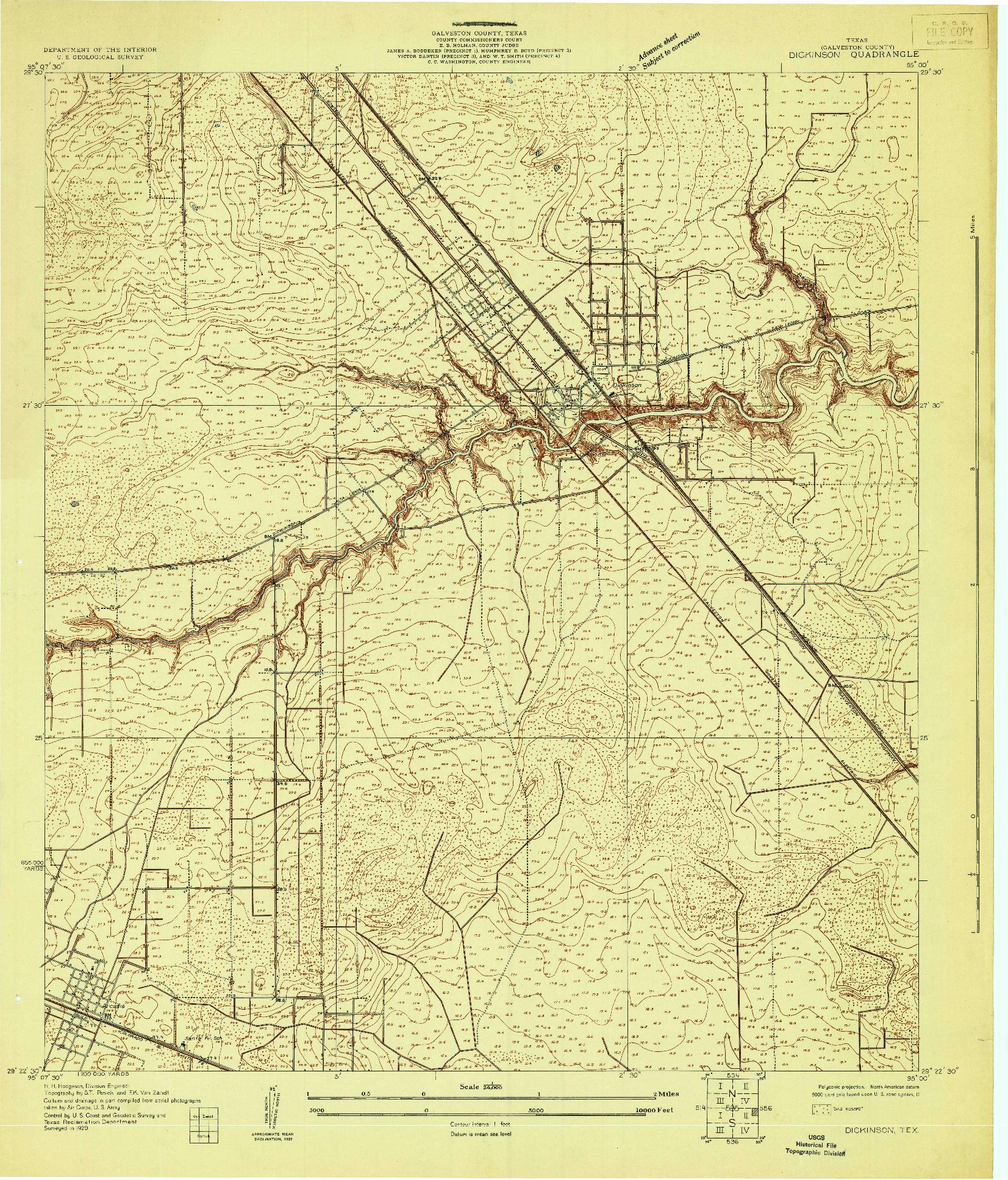 USGS 1:24000-SCALE QUADRANGLE FOR DICKINSON, TX 1929