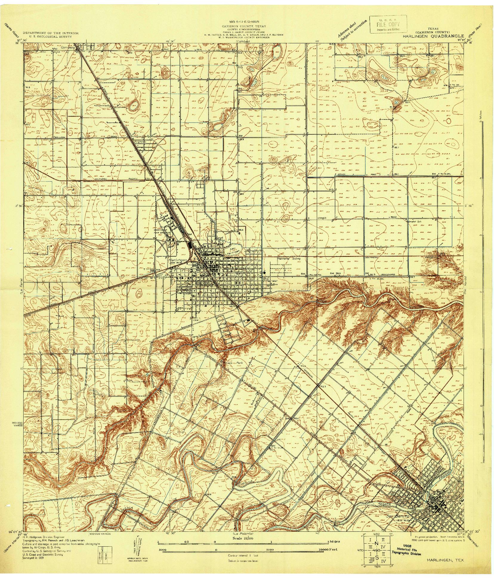 USGS 1:24000-SCALE QUADRANGLE FOR HARLINGEN, TX 1929