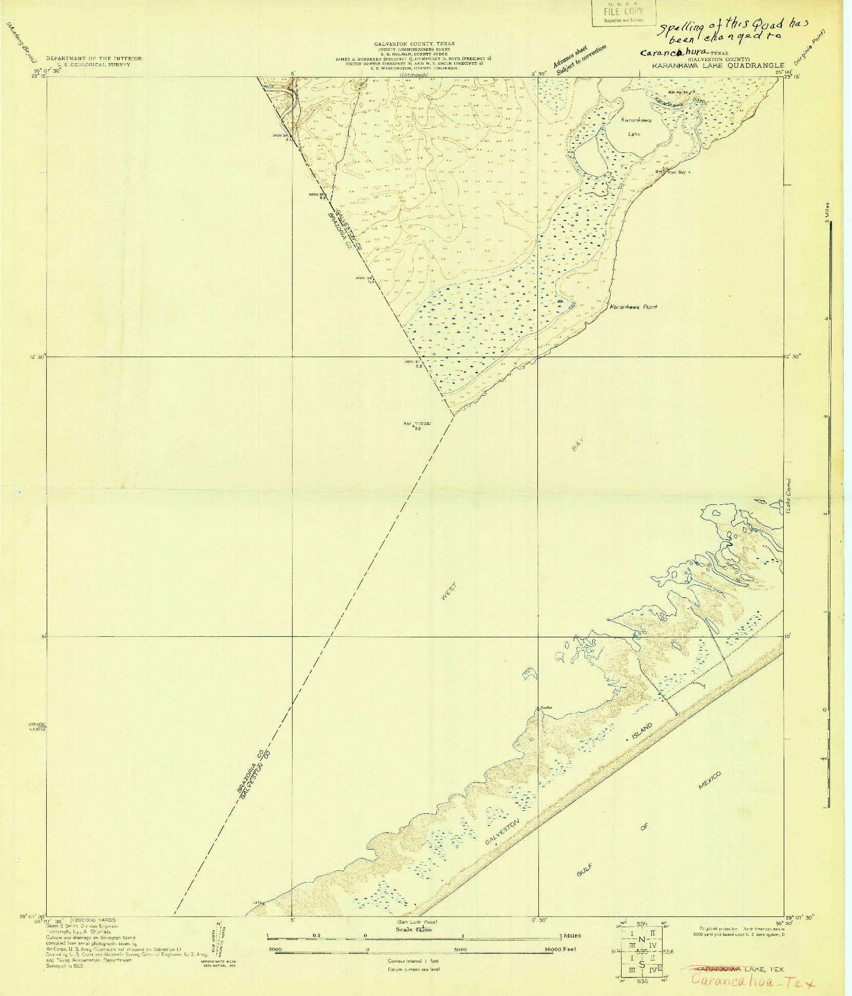 USGS 1:24000-SCALE QUADRANGLE FOR KARANKAWA LAKE, TX 1929