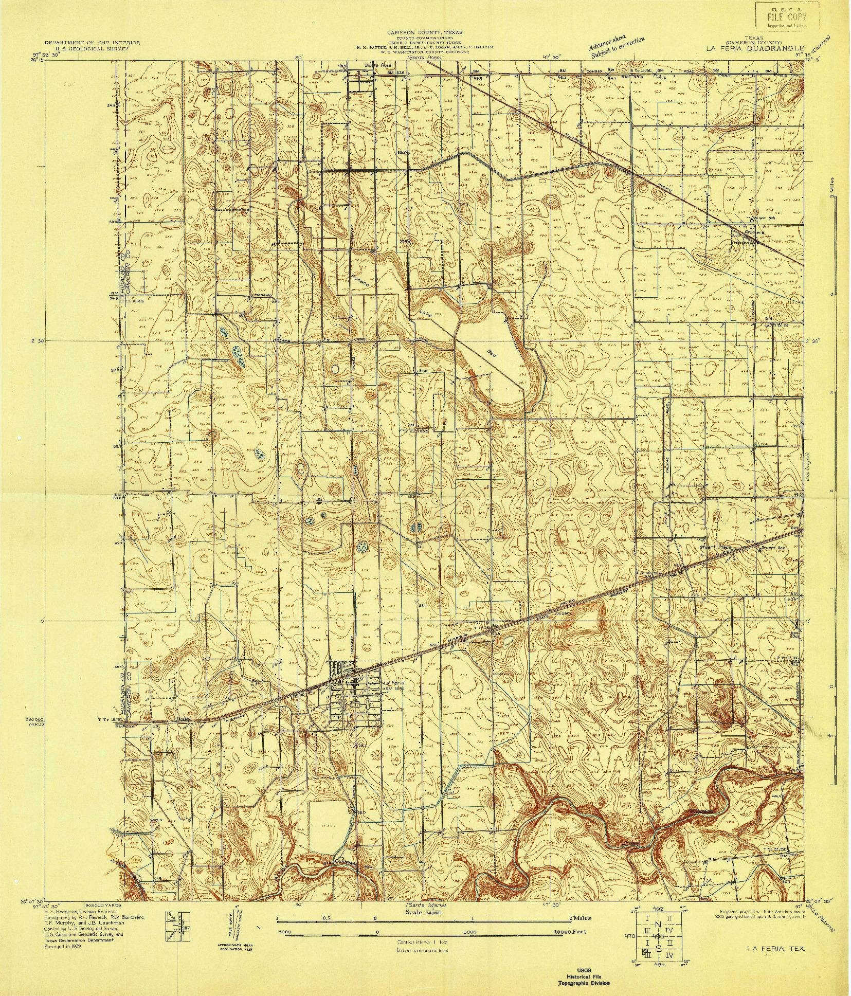 USGS 1:24000-SCALE QUADRANGLE FOR LA FERIA, TX 1929