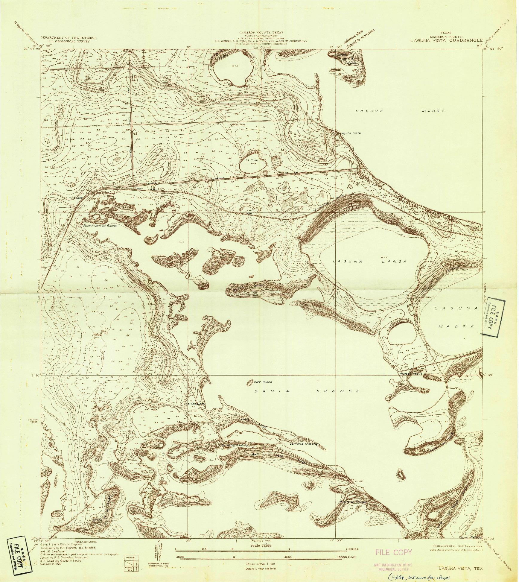 USGS 1:24000-SCALE QUADRANGLE FOR LAGUNA VISTA, TX 1929