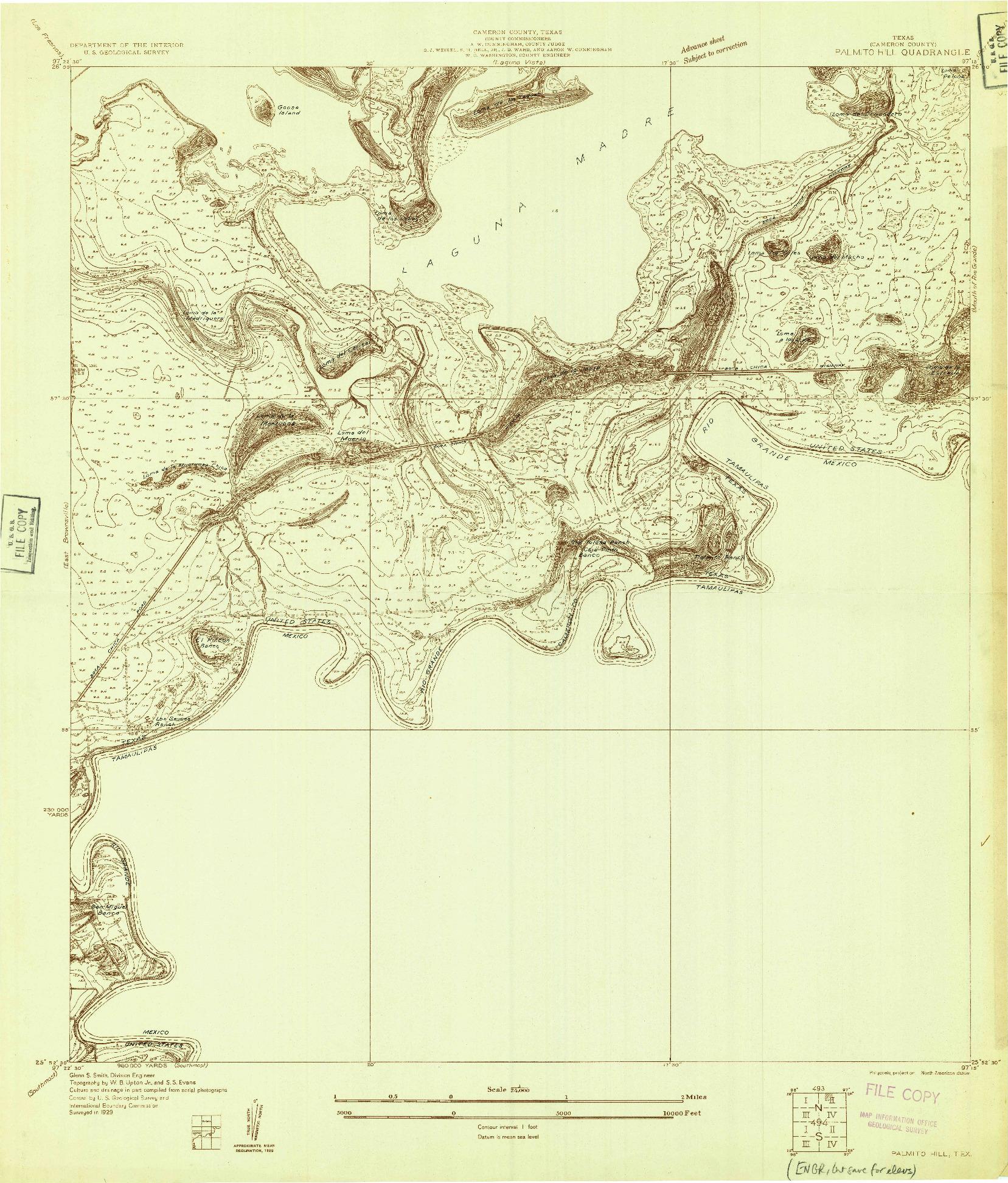 USGS 1:24000-SCALE QUADRANGLE FOR PALMITO HILL, TX 1929