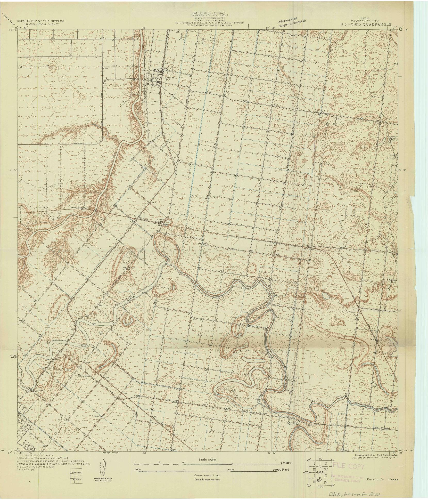 USGS 1:24000-SCALE QUADRANGLE FOR RIO HONDO, TX 1929