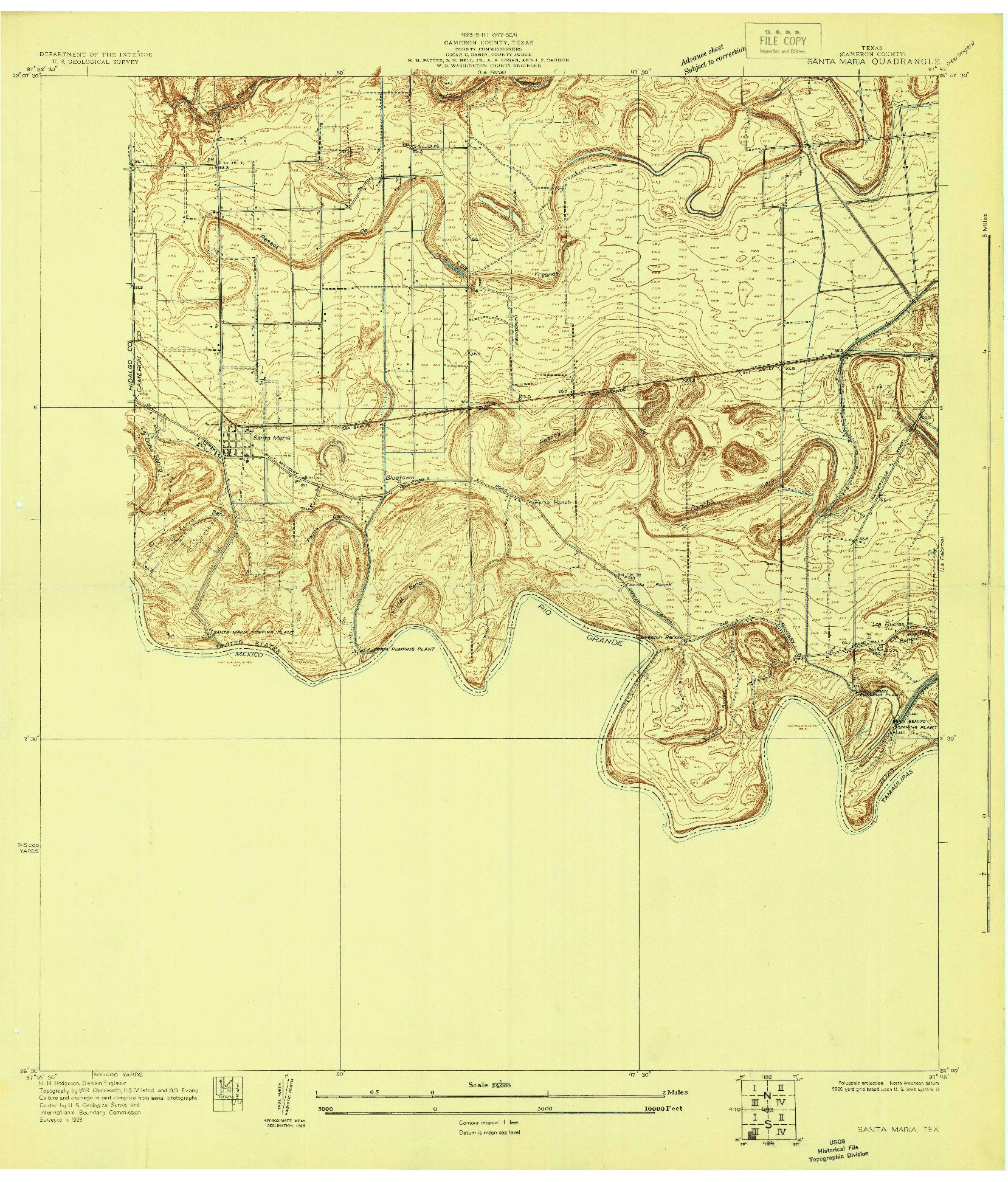 USGS 1:24000-SCALE QUADRANGLE FOR SANTA MARIA, TX 1929