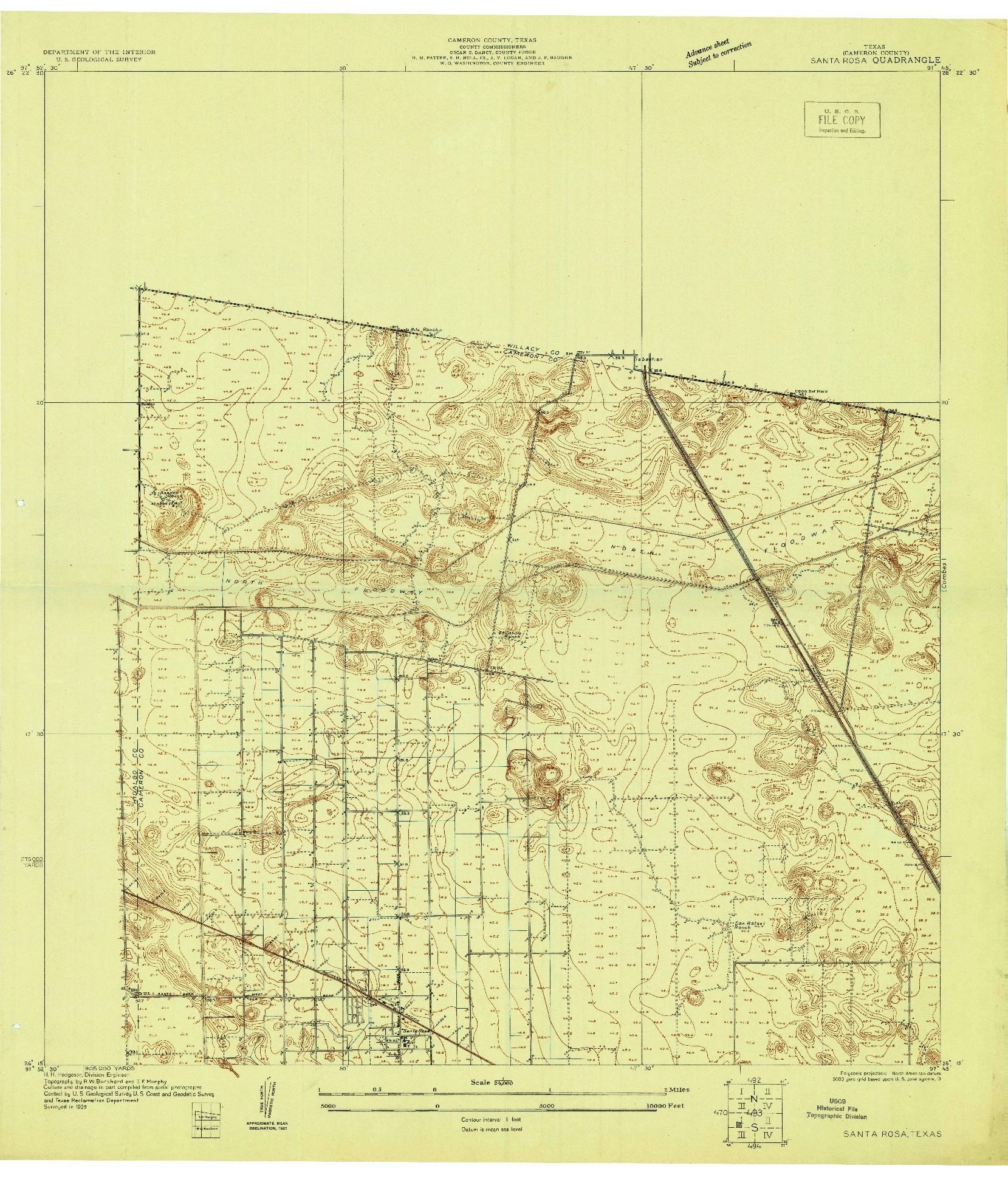 USGS 1:24000-SCALE QUADRANGLE FOR SANTA ROSA, TX 1929