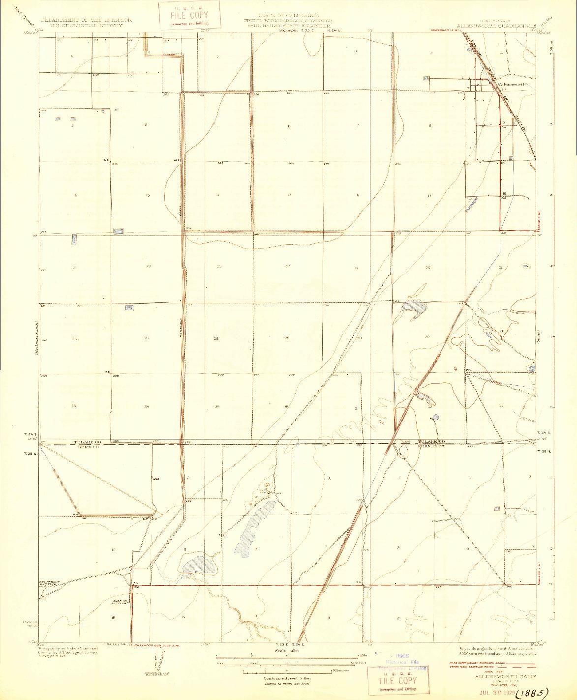 USGS 1:31680-SCALE QUADRANGLE FOR ALLENSWORTH, CA 1929