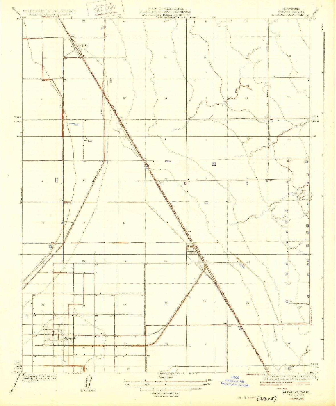 USGS 1:31680-SCALE QUADRANGLE FOR ALPAUGH, CA 1929