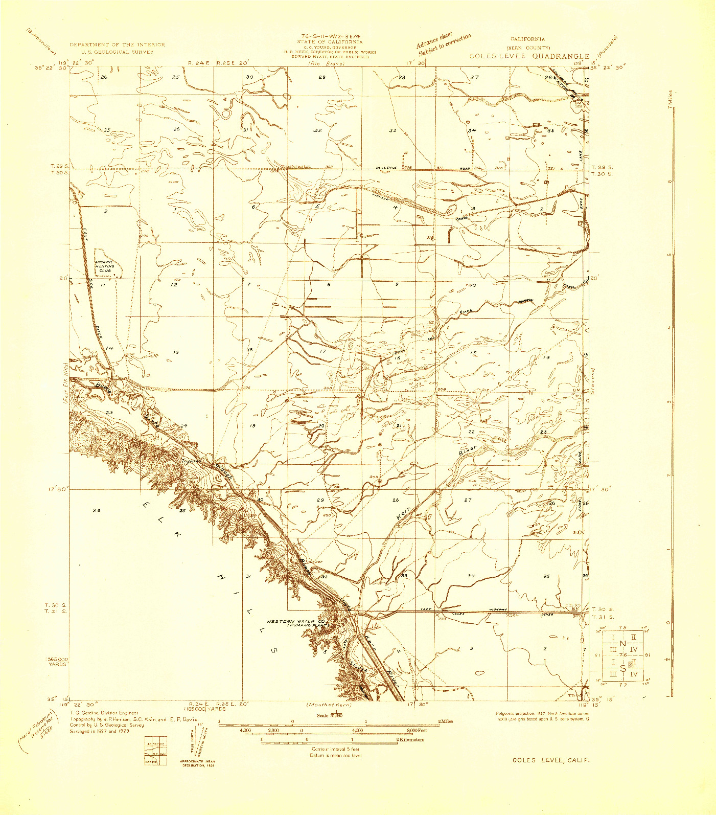 USGS 1:31680-SCALE QUADRANGLE FOR COLES LEVEE, CA 1929
