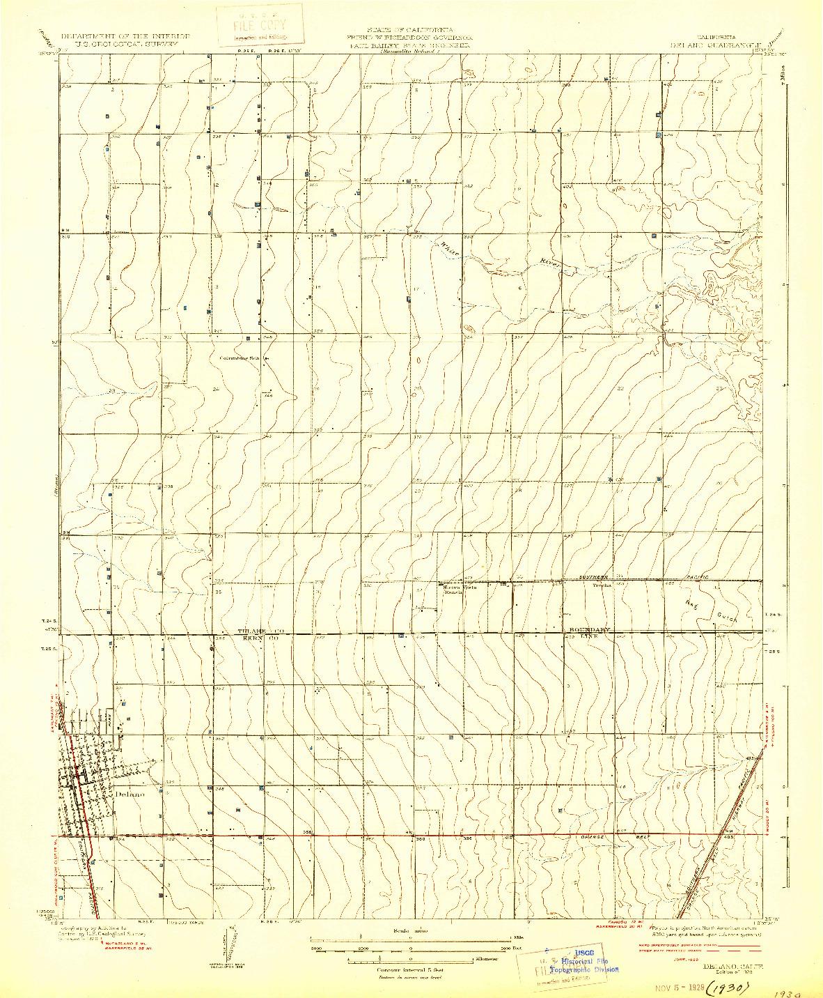 USGS 1:31680-SCALE QUADRANGLE FOR DELANO, CA 1929