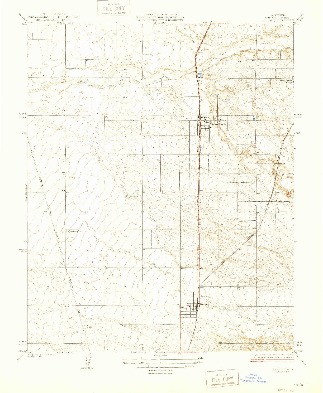 USGS 1:31680-SCALE QUADRANGLE FOR DUCOR, CA 1929