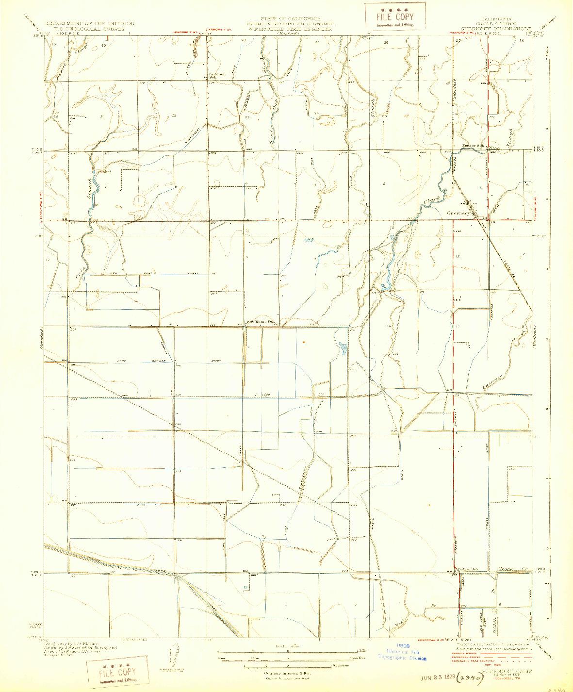 USGS 1:31680-SCALE QUADRANGLE FOR GUERNSEY, CA 1929