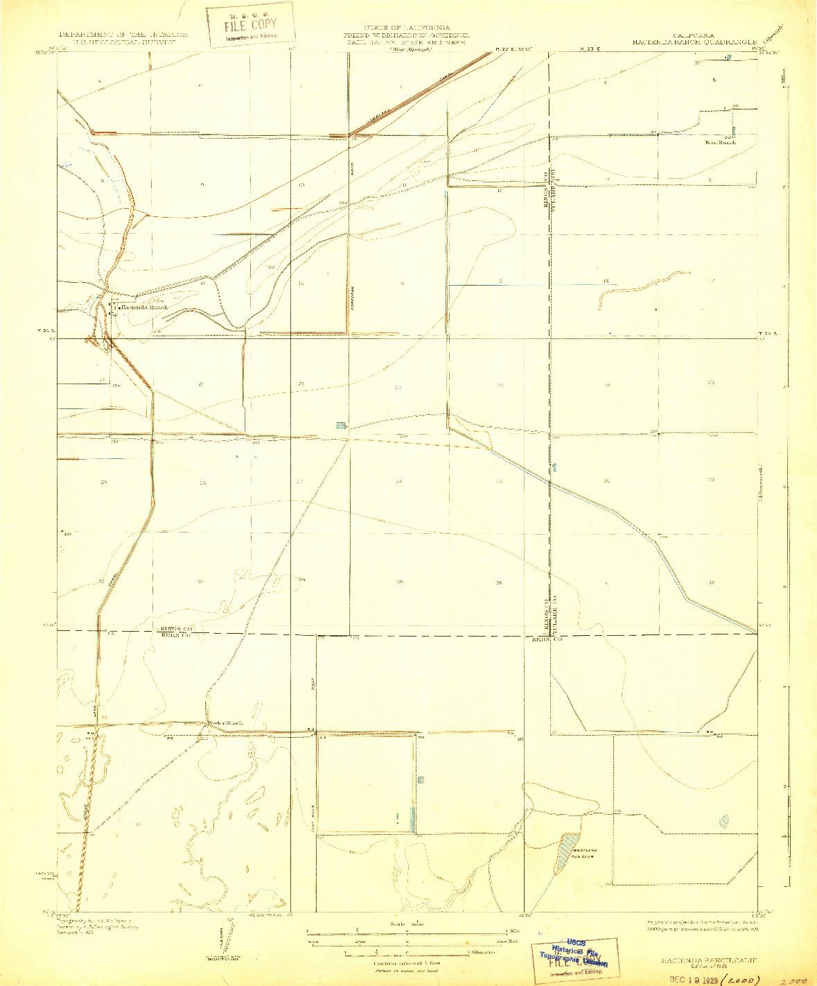 USGS 1:31680-SCALE QUADRANGLE FOR HACIENDA RANCH, CA 1929
