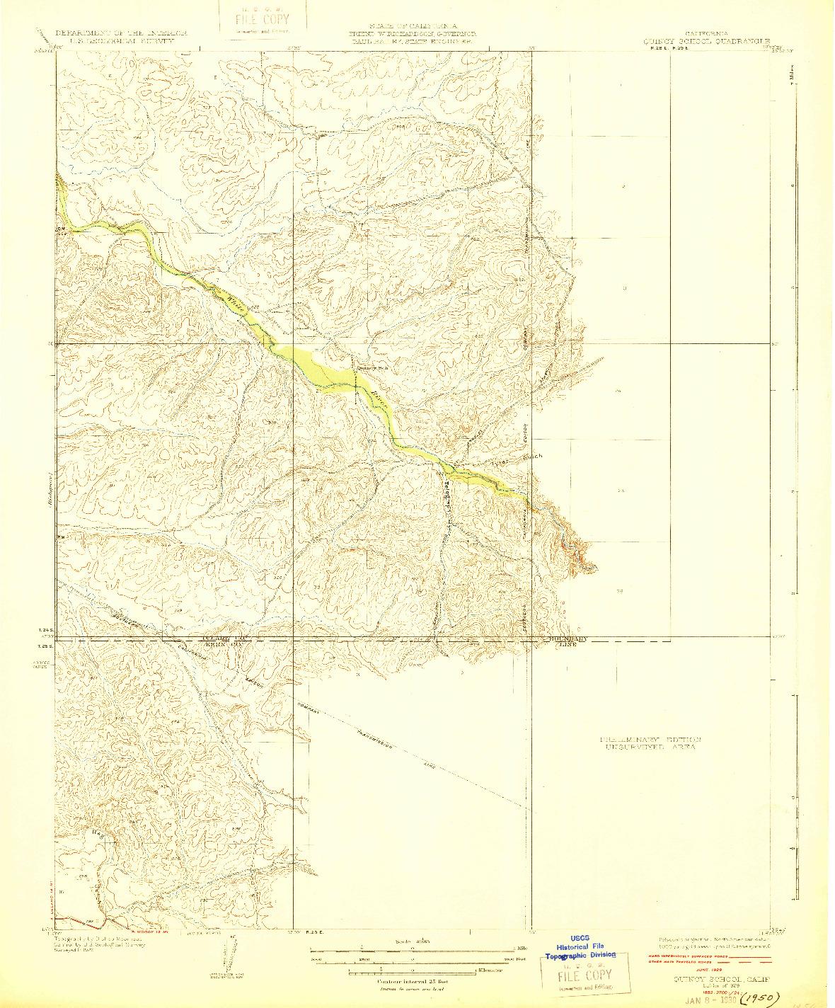 USGS 1:31680-SCALE QUADRANGLE FOR QUINCY SCHOOL, CA 1929