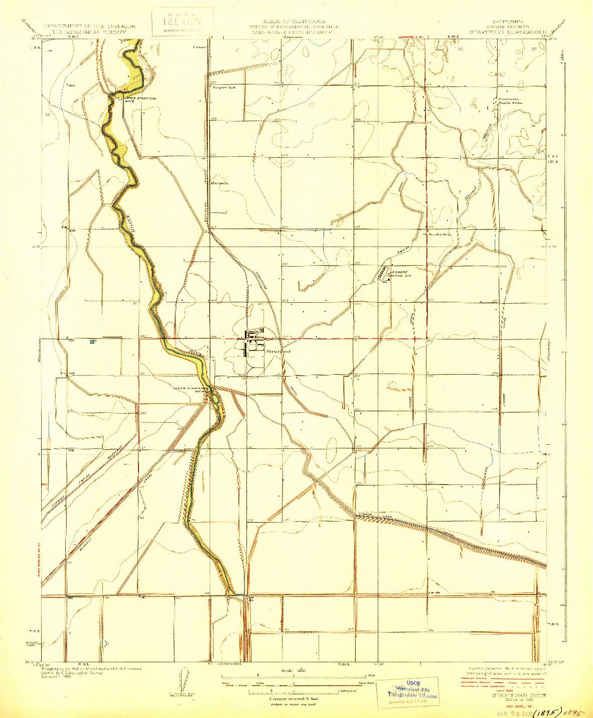 USGS 1:31680-SCALE QUADRANGLE FOR STRATFORD, CA 1929