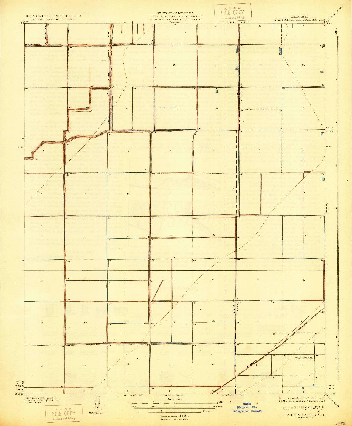 USGS 1:31680-SCALE QUADRANGLE FOR WEST ALPAUGH, CA 1929