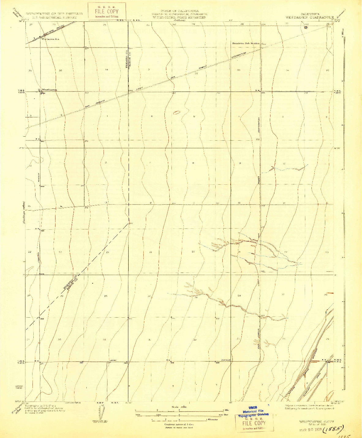 USGS 1:31680-SCALE QUADRANGLE FOR WESTHAVEN, CA 1929