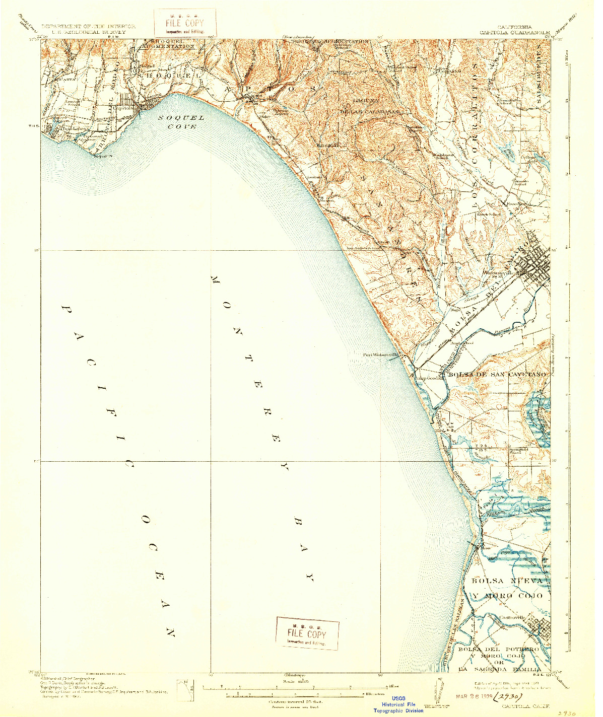 USGS 1:62500-SCALE QUADRANGLE FOR CAPITOLA, CA 1914