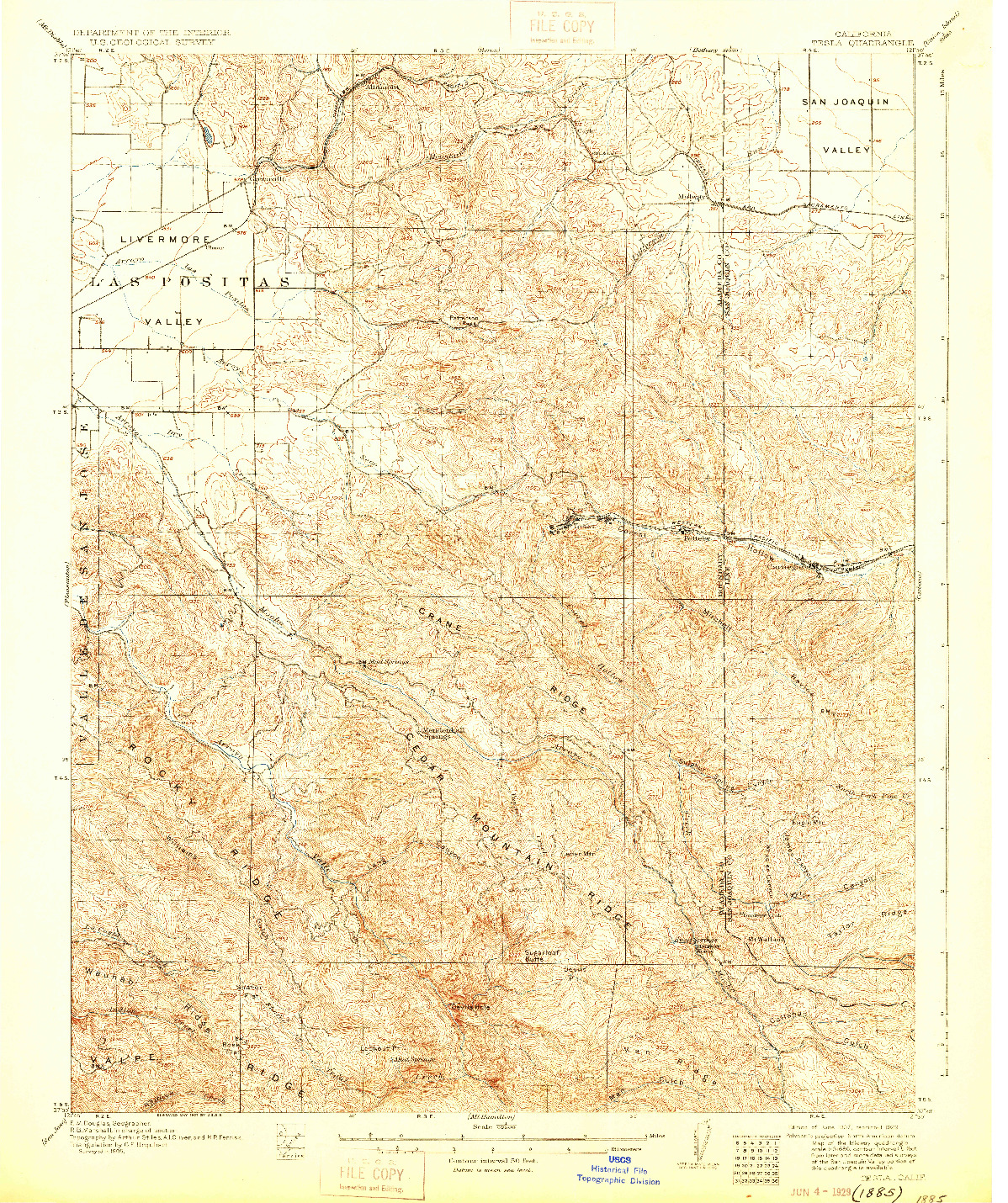 USGS 1:62500-SCALE QUADRANGLE FOR TESLA, CA 1907