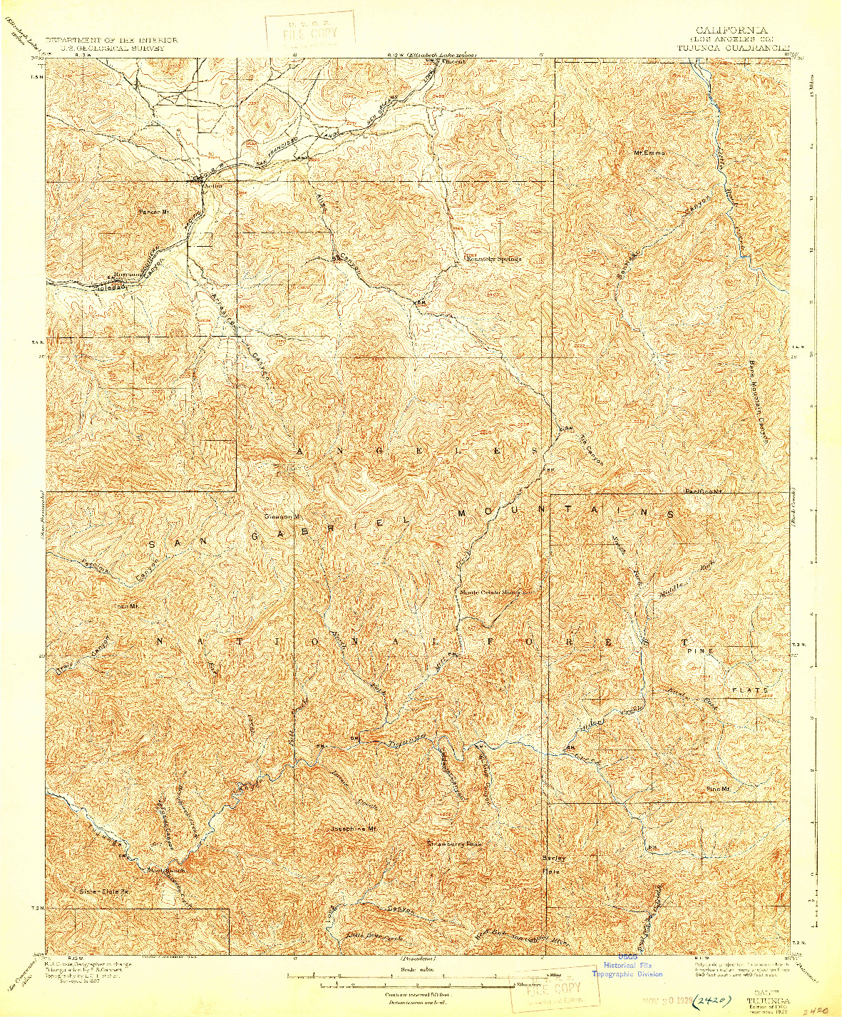 USGS 1:62500-SCALE QUADRANGLE FOR TUJUNGA, CA 1900