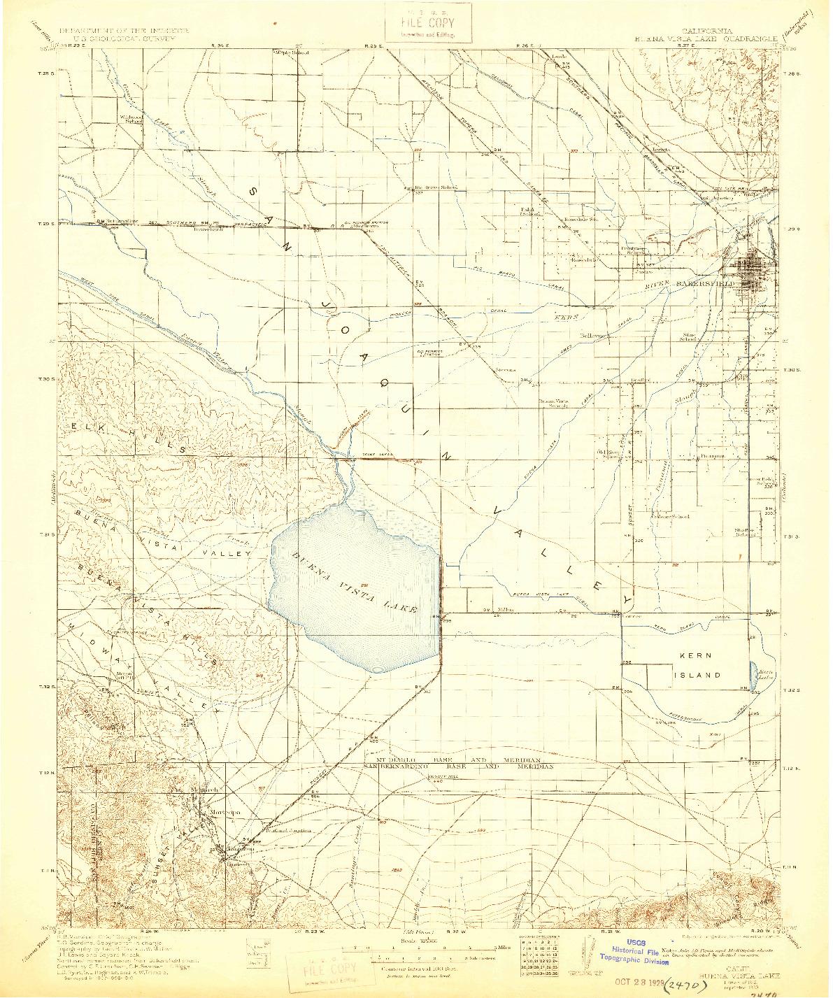 USGS 1:125000-SCALE QUADRANGLE FOR BUENA VISTA LAKE, CA 1912