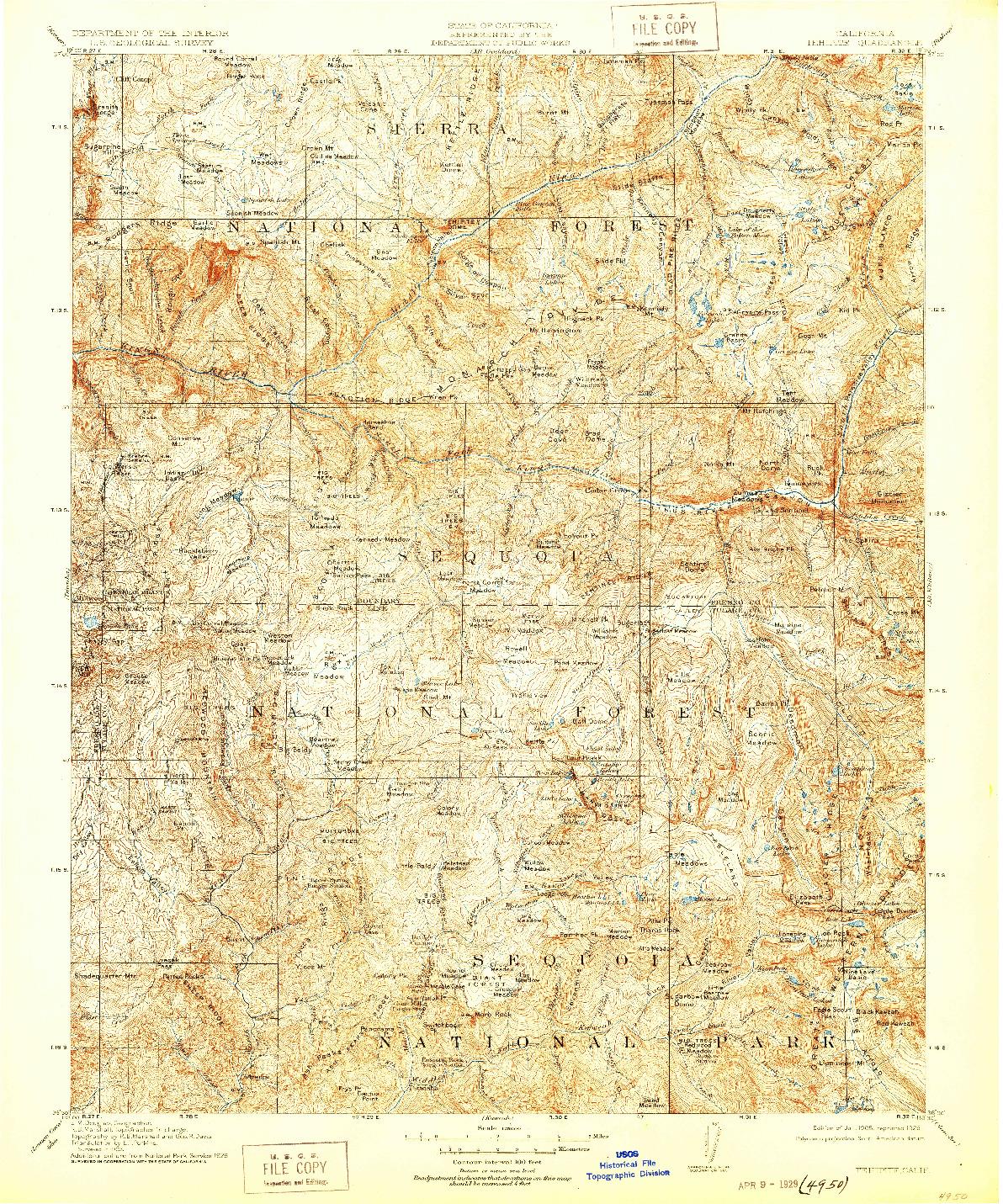 USGS 1:125000-SCALE QUADRANGLE FOR TEHIPITE, CA 1905