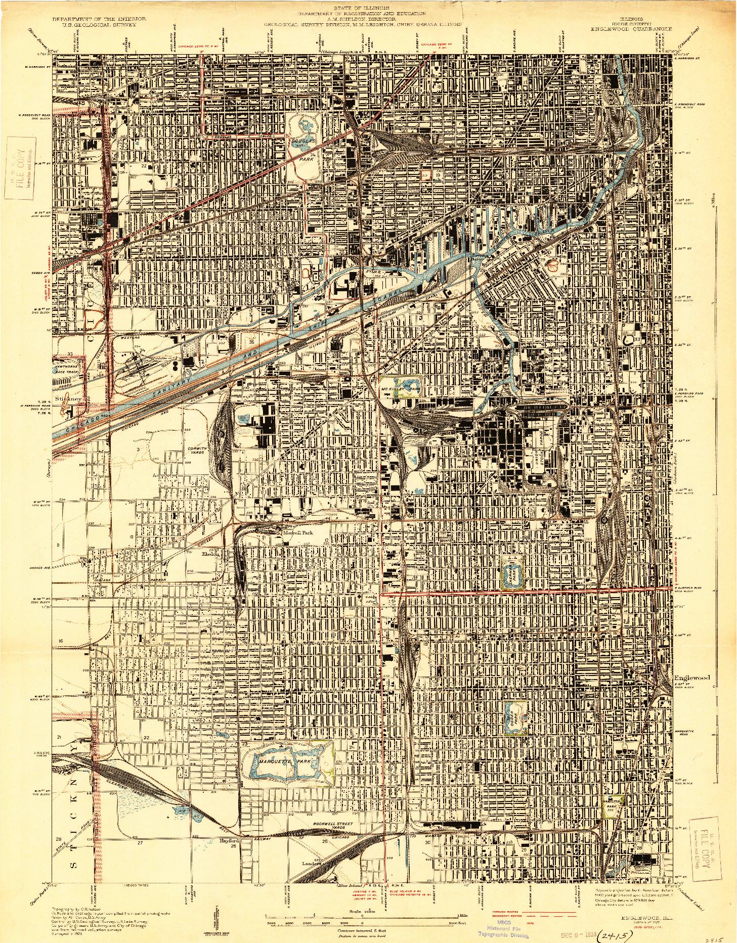 USGS 1:24000-SCALE QUADRANGLE FOR ENGLEWOOD, IL 1929