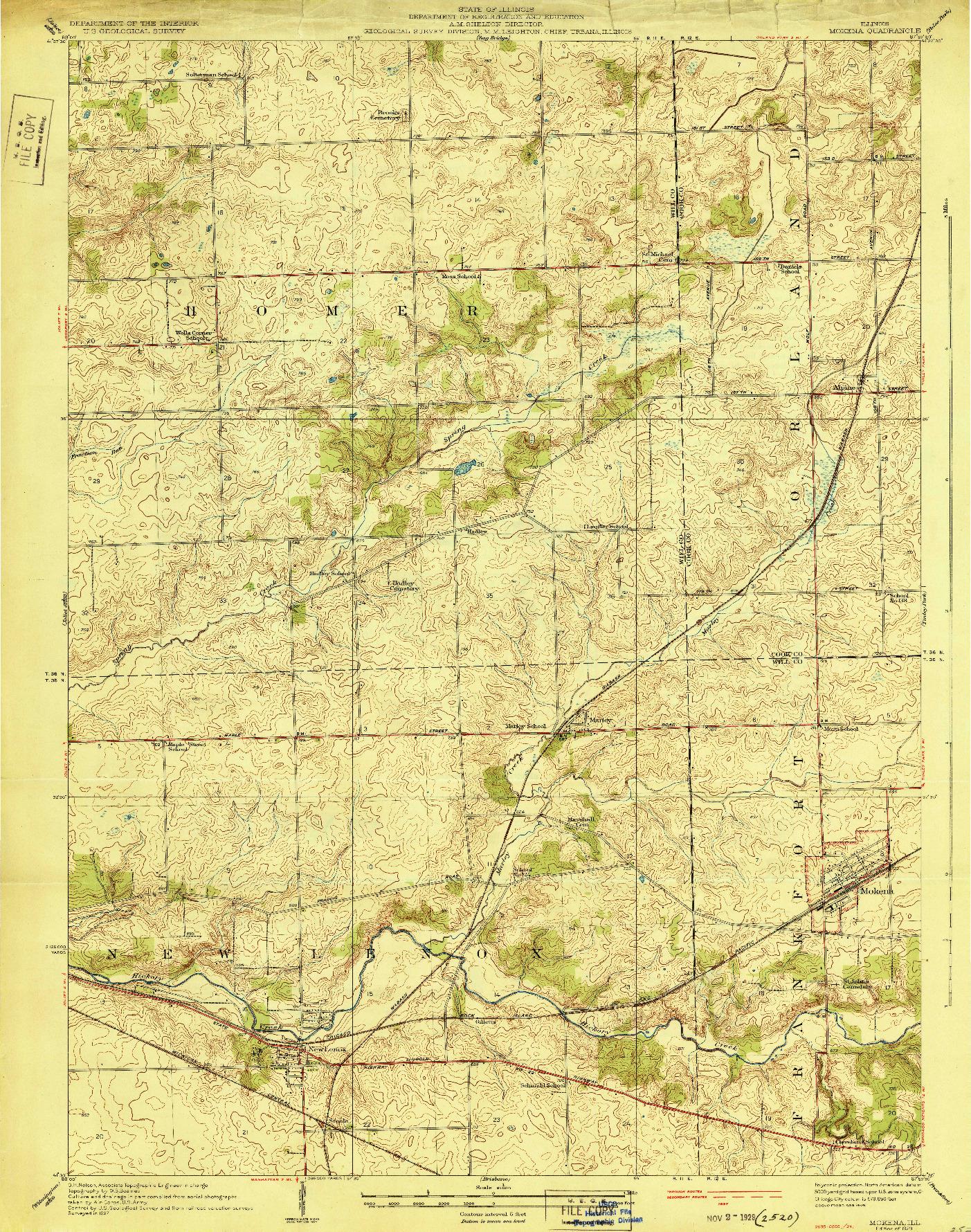 USGS 1:24000-SCALE QUADRANGLE FOR MOKENA, IL 1929