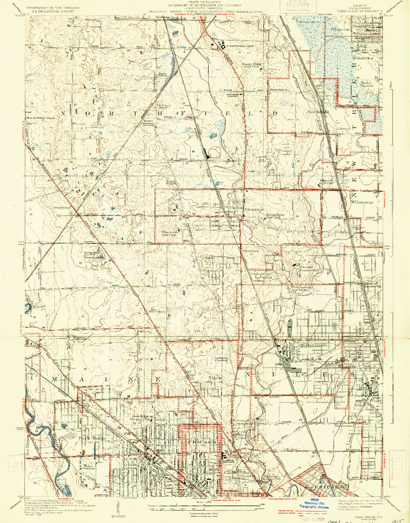 USGS 1:24000-SCALE QUADRANGLE FOR PARK RIDGE, IL 1929