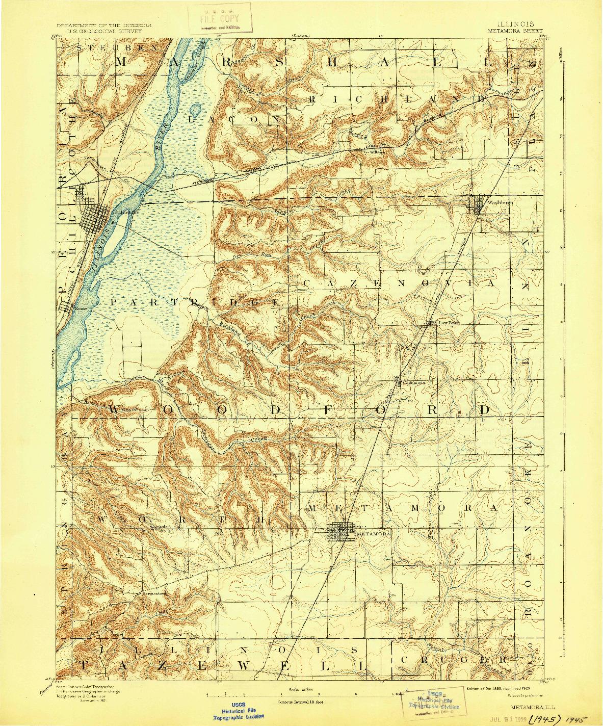 USGS 1:62500-SCALE QUADRANGLE FOR METAMORA, IL 1893