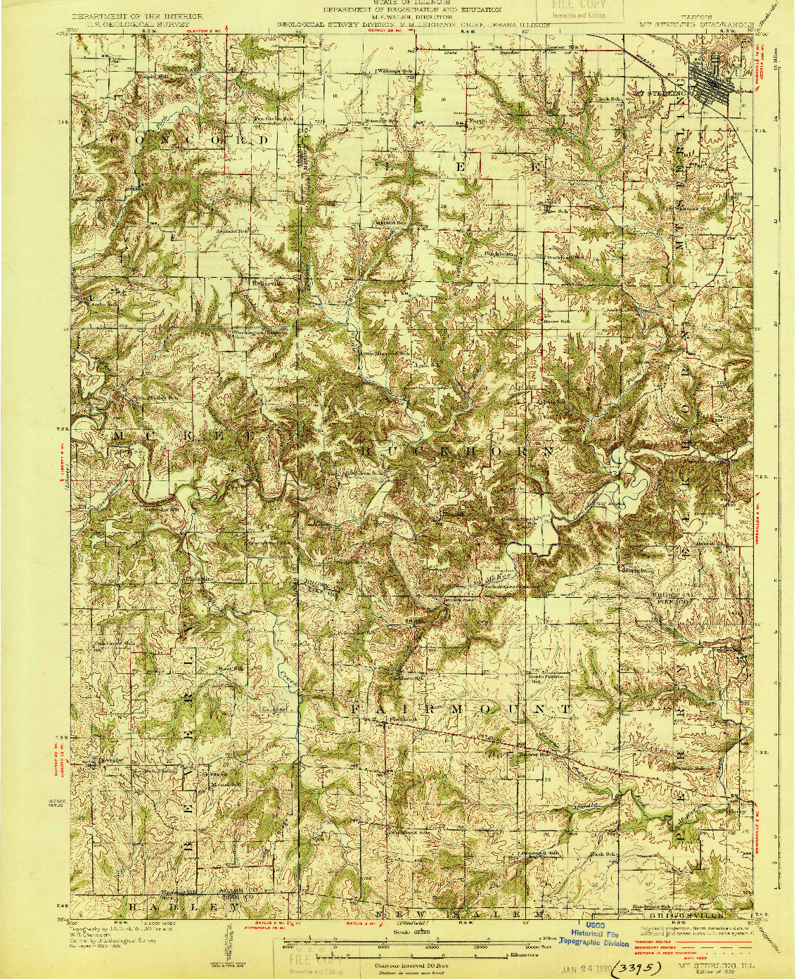 USGS 1:62500-SCALE QUADRANGLE FOR MT STERLING, IL 1929