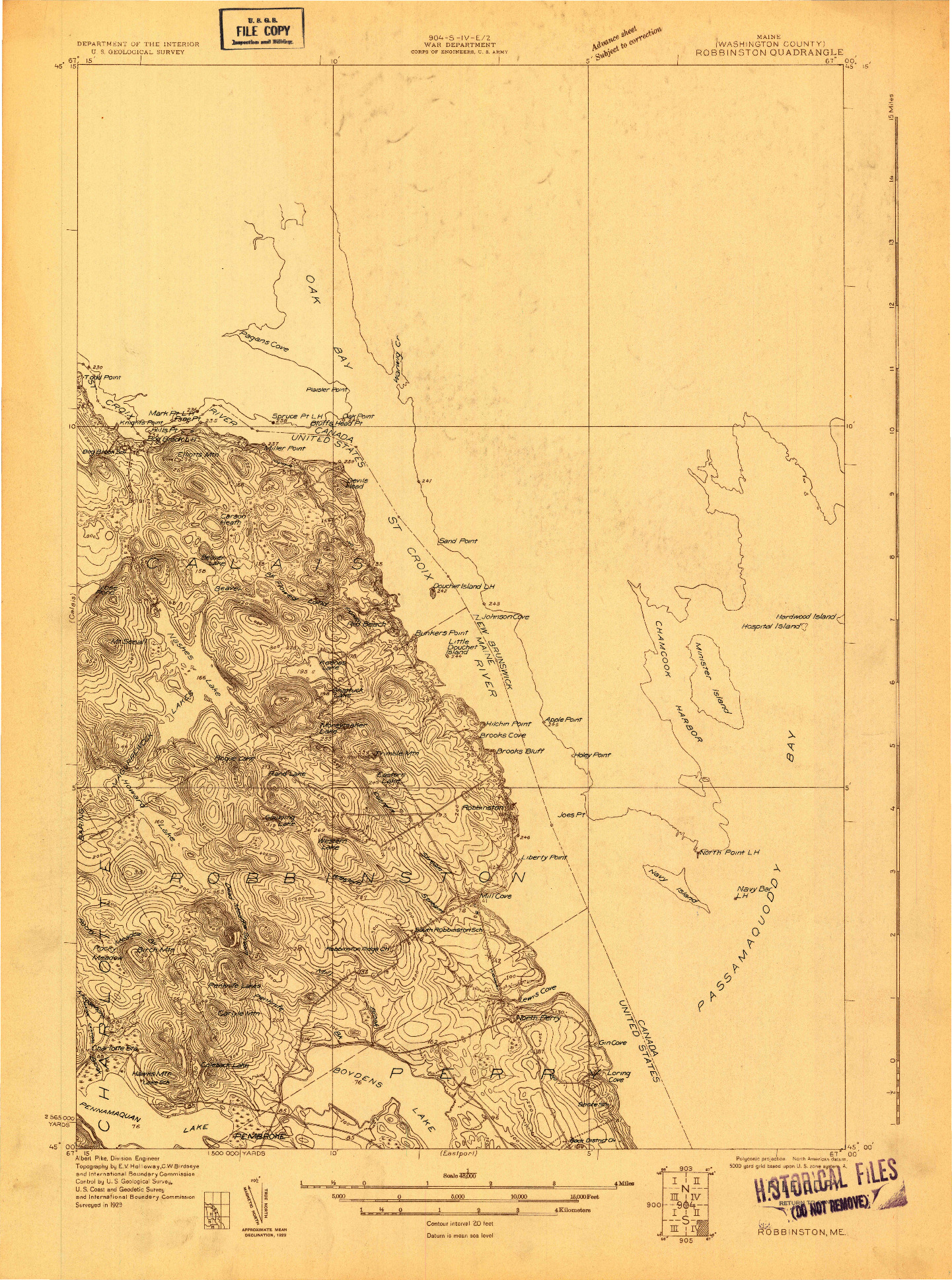 USGS 1:48000-SCALE QUADRANGLE FOR ROBBINSTON, ME 1929