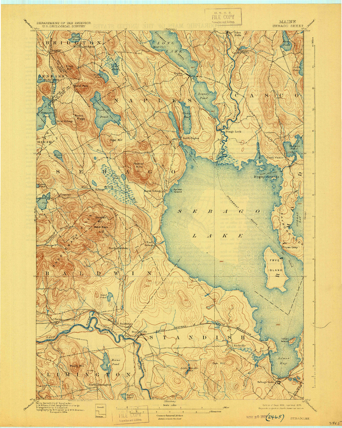 USGS 1:62500-SCALE QUADRANGLE FOR SEBAGO, ME 1896