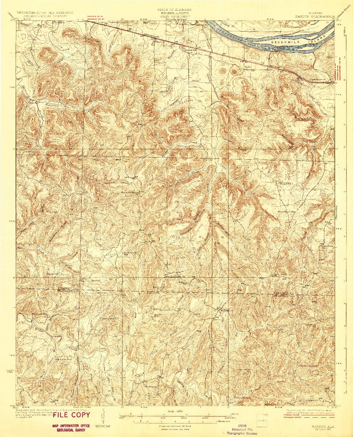 USGS 1:62500-SCALE QUADRANGLE FOR BARTON, AL 1929