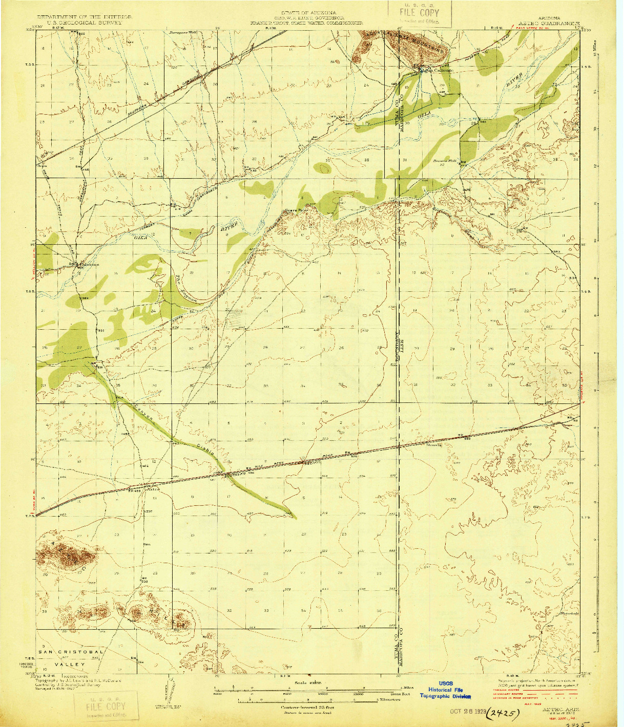 USGS 1:62500-SCALE QUADRANGLE FOR AZTEC, AZ 1929