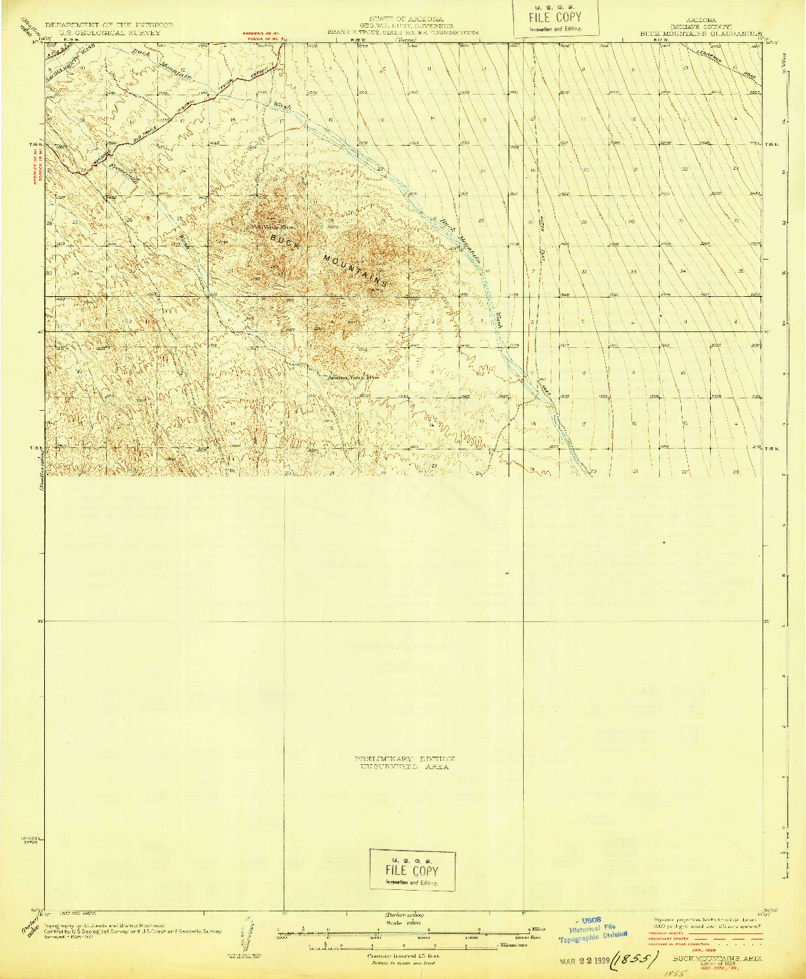 USGS 1:62500-SCALE QUADRANGLE FOR BUCK MOUNTAINS, AZ 1929