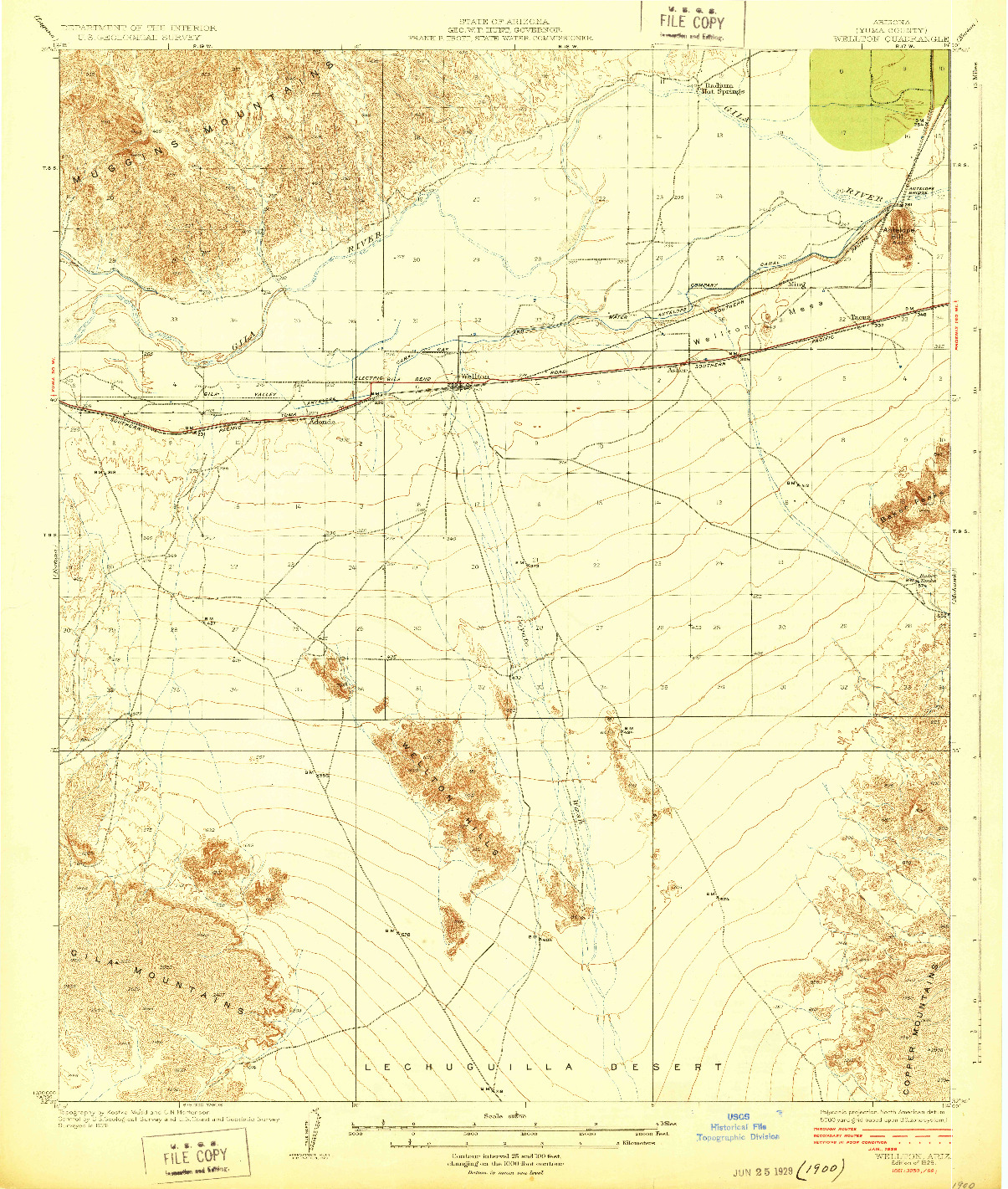 USGS 1:62500-SCALE QUADRANGLE FOR WELLTON, AZ 1929