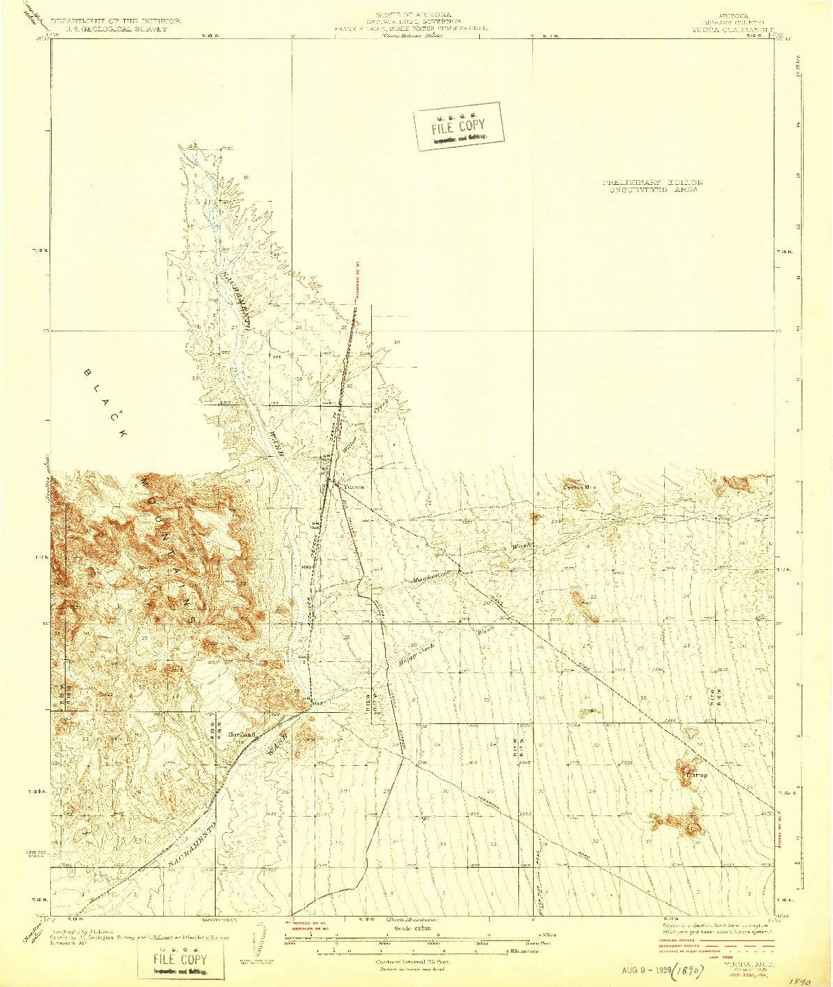 USGS 1:62500-SCALE QUADRANGLE FOR YUCCA, AZ 1929