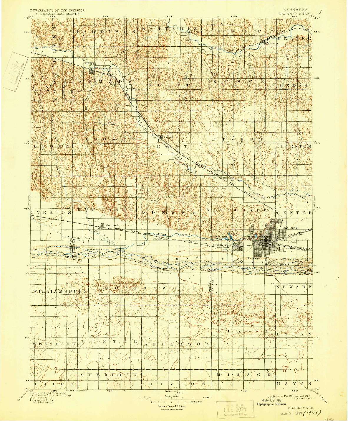 USGS 1:125000-SCALE QUADRANGLE FOR KEARNEY, NE 1896
