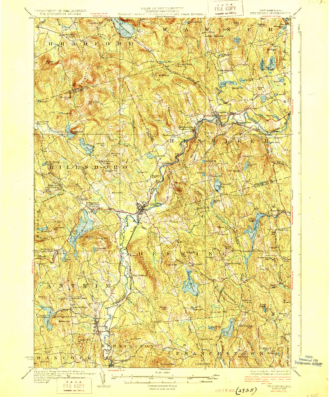 USGS 1:62500-SCALE QUADRANGLE FOR HILLSBORO, NH 1929