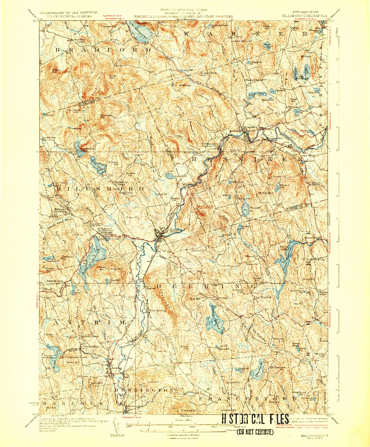 USGS 1:62500-SCALE QUADRANGLE FOR HILLSBORO, NH 1929