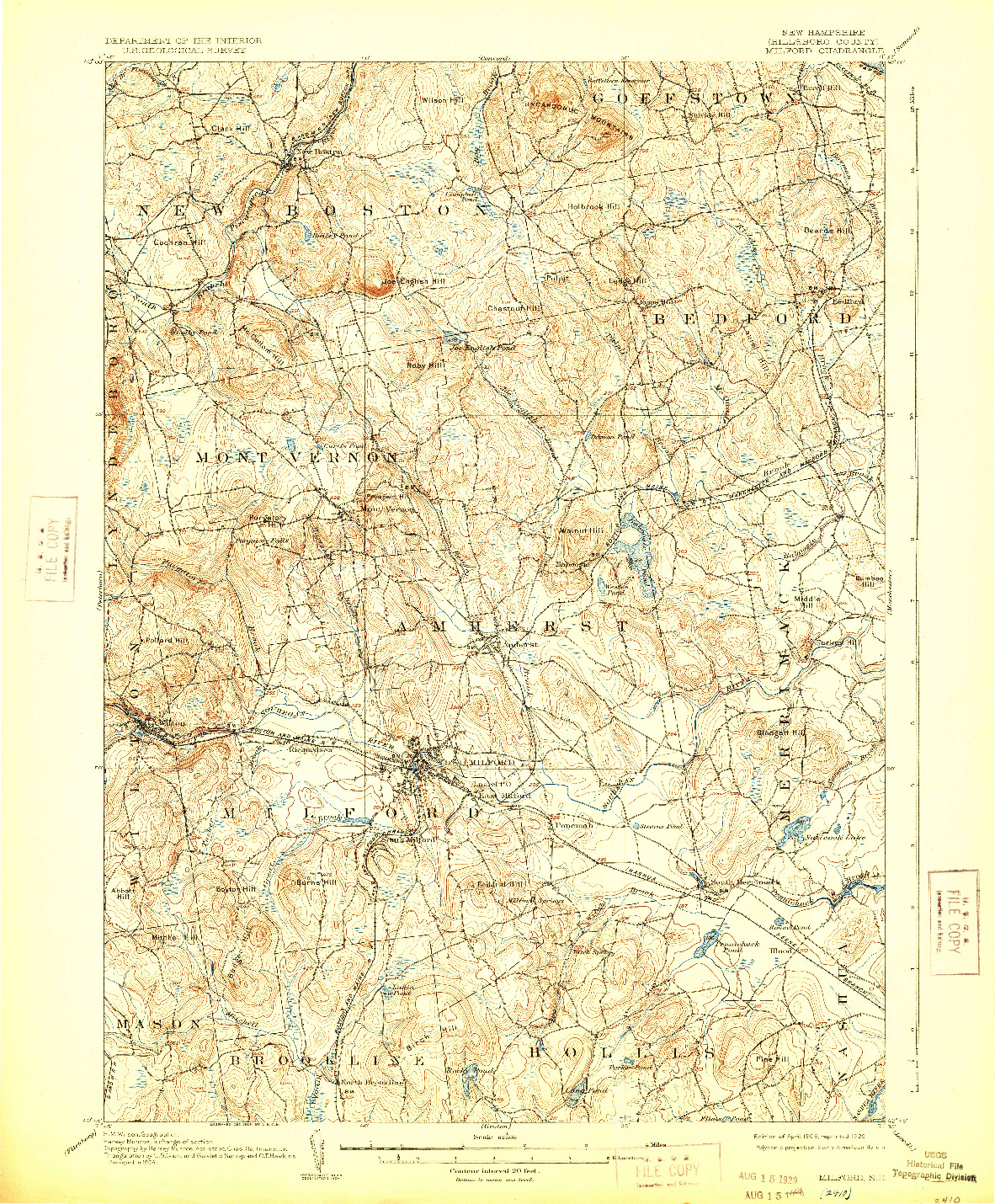 USGS 1:62500-SCALE QUADRANGLE FOR MILFORD, NH 1906
