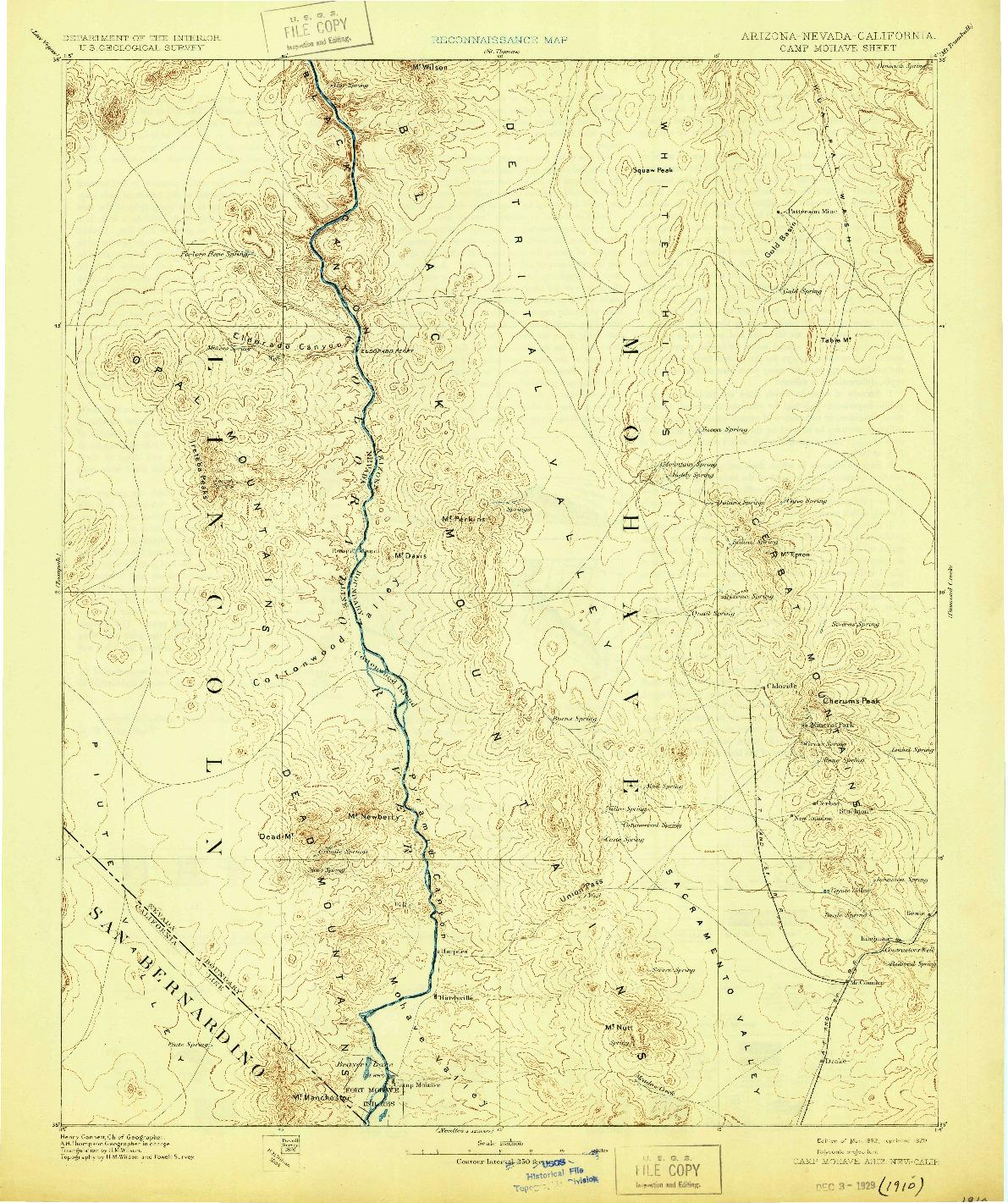 USGS 1:250000-SCALE QUADRANGLE FOR CAMP MOHAVE, AZ 1892