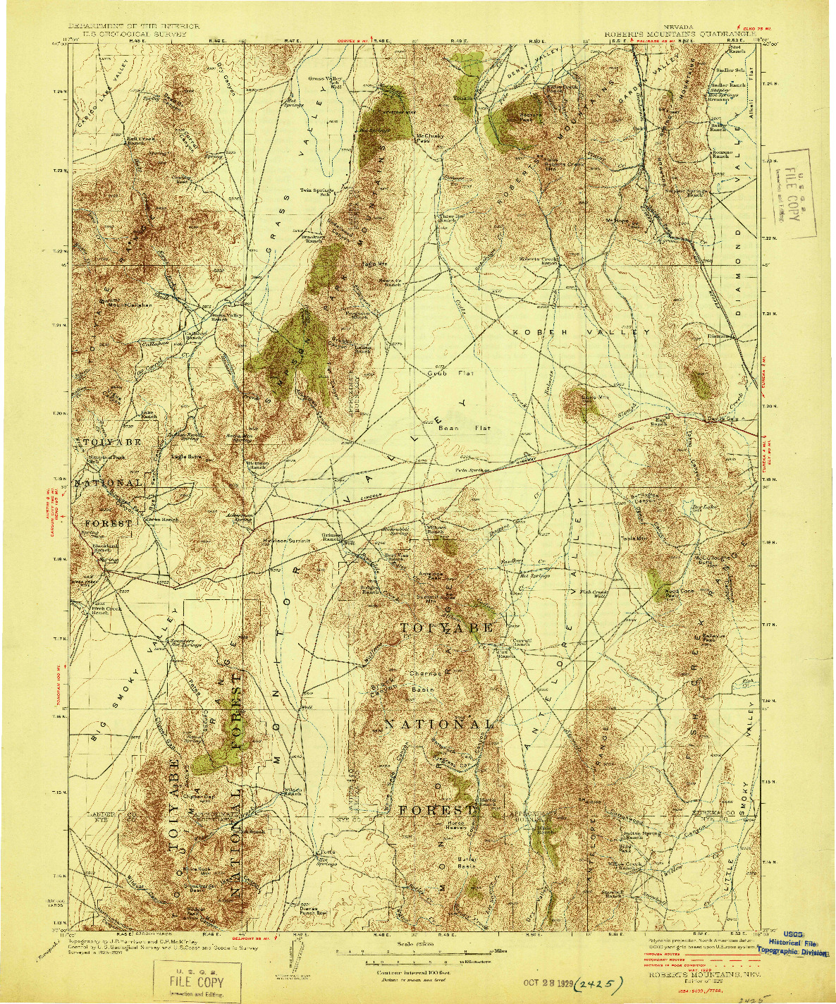 USGS 1:250000-SCALE QUADRANGLE FOR ROBERTS MOUNTAINS, NV 1929