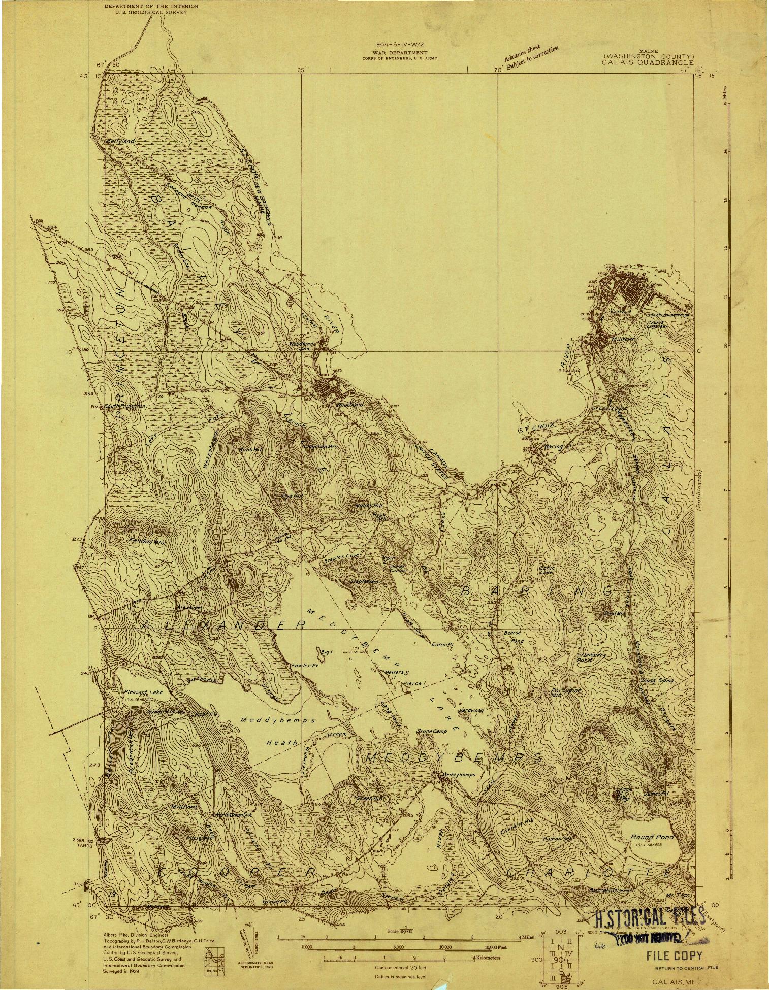 USGS 1:48000-SCALE QUADRANGLE FOR CALAIS, ME 1929