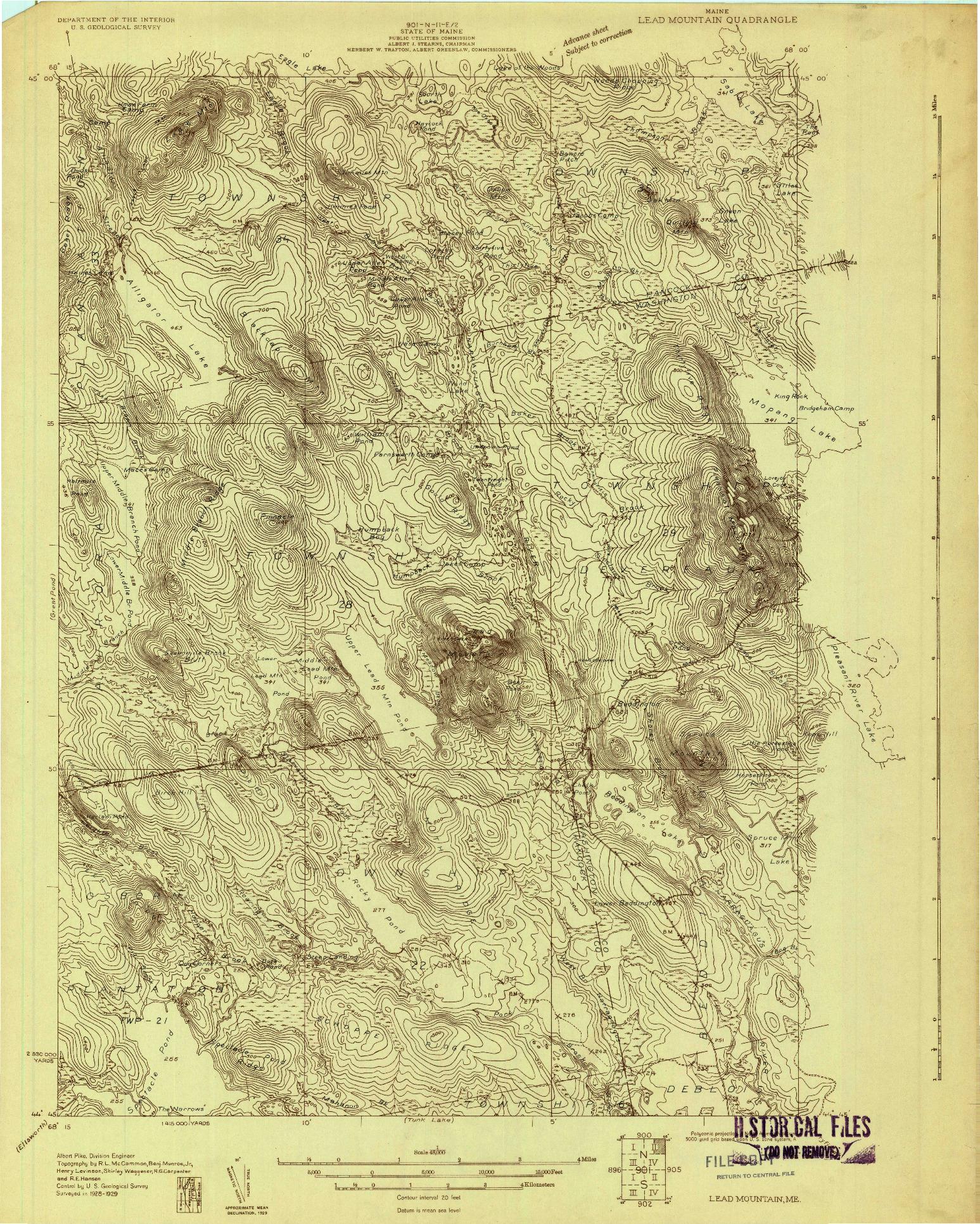 USGS 1:48000-SCALE QUADRANGLE FOR LEAD MOUNTAIN, ME 1929