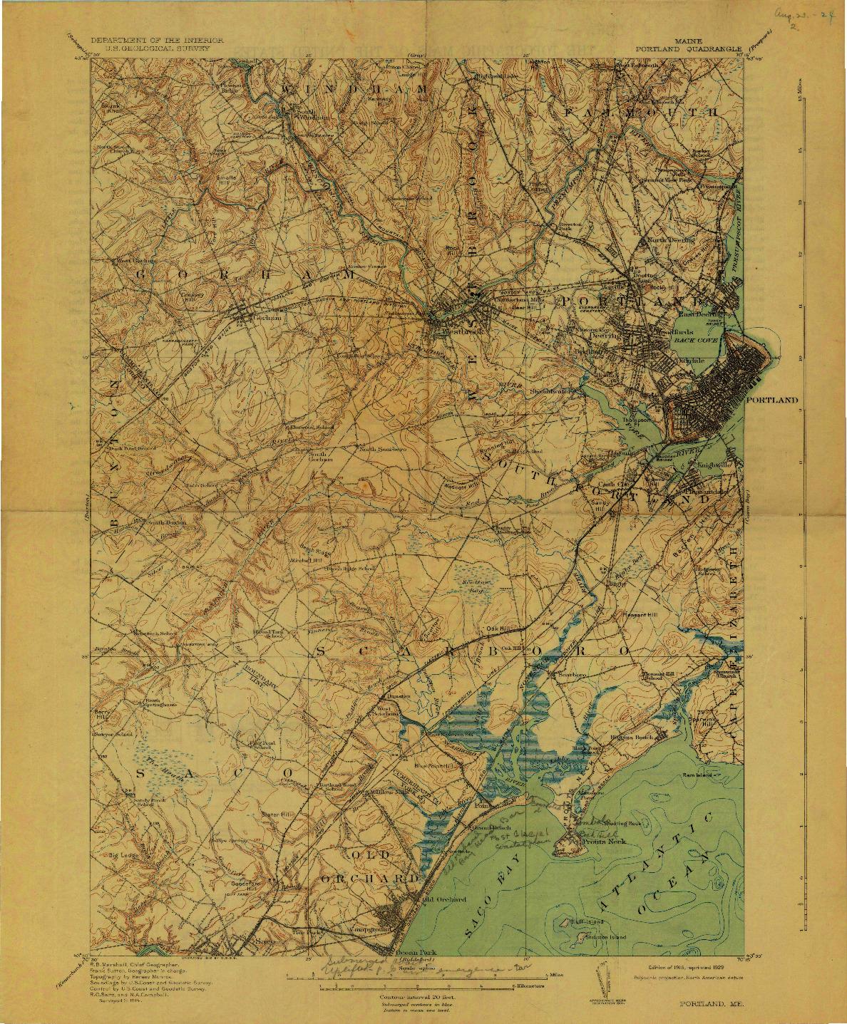 USGS 1:62500-SCALE QUADRANGLE FOR PORTLAND, ME 1916