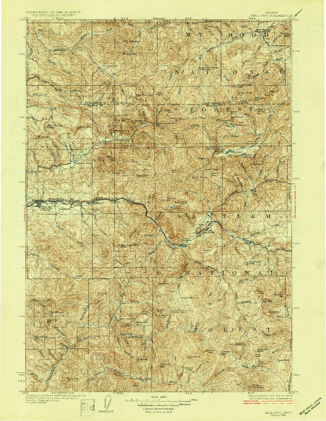 USGS 1:125000-SCALE QUADRANGLE FOR MILL CITY, OR 1929